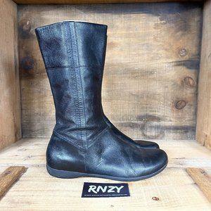 Vagabond Black Leather Flat Riding Boot